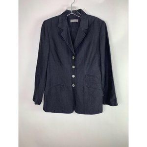 Kate Hill Womens Blazer Size 6 Solid Blue Long